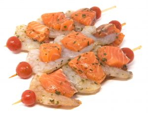 Salmon Scampi Skewer marin.